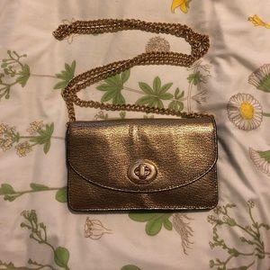 Gold Coach Leather Crossbody Bag